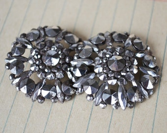 Victorian Cut Steel Buttons ~ Pair of Cut Steel Buttons ~ Faceted Steel ~ 1800's Jewelry ~ Vintage Wedding Jewelry