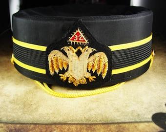 Masonic 32nd Degree hat Scottish Rite Cap Masonic hat Size 7 1/2 gold bullion emblem D Turrin co mens Black Hat scottish rite hat