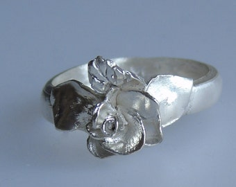 Sterling Silver Ring. Rose PMC Ring.