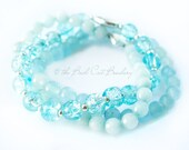 Boho Soft Blues, Blue Bead Stretch Stack Bracelet Jade Aquamarine and Crackle Glass with Faux silver clasp
