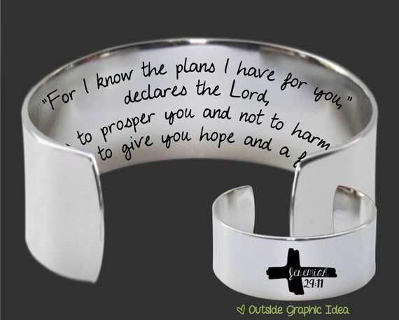 Inspirational | Christian Gifts | Faith Gifts | Gift for a Friend | Jeremiah 29:11 Bible Scripture Custom Bracelet Korena Loves