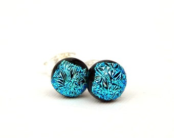 Small Blue Green Dichroic Glass Stud Earrings on 925 Sterling Silver - Fused Glass Jewelry - Green Post Earrings