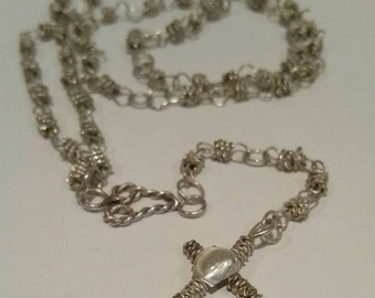 Vintage Artisan Rosary/Chunky twisted rope design/Silverplated