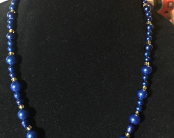 Blue and Gold Mixed Fiber  Necklace.