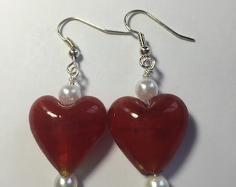 Red Glass Heart and White Pearl earrings