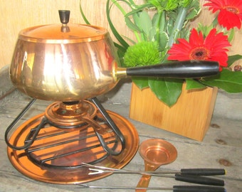 Fondue set Copper Pot Pan and Warmer Fondues and Sautes  Fondue Set Chafing Warmer