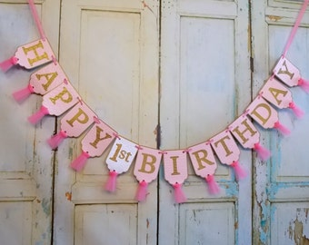 Happy 1st Birthday Banner, Pink and Gold Birthday Decoration, Girls First Birthday, Girls 1st Birthday Party