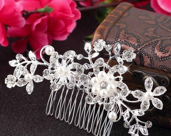 Wedding Hair Comb Swarovski Pearl  Crystal Rhinestone Bridal Hair Comb Wedding Jewelry Bridal Jewelry Hair Accessory Bridesmaid Hair Comb