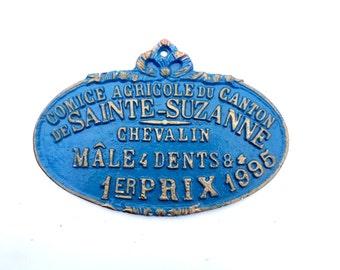 Vintage French metal Award sign / Plaque  Agricultural Show Medieval Village