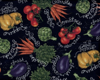 Veggies fabric - carrots peppers tomatoes artichoke eggplant with chalk names  - by the YARD