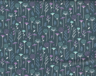 Midnight Flowers Ethereal cotton fabric - blue periwinkle orchid aqua - Camelot Cottons - by the continuous YARD