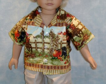 18 Inch Doll Clothes - Fall Scenic Boys Shirt Cargo Pants Hat handmade by Jane Ellen to fit 18 inch dolls