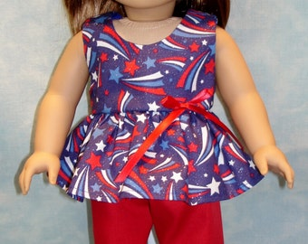 18 Inch Doll Clothes - 4th of July Fireworks Shorts Set handmade by Jane Ellen to fit 18 inch dolls