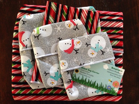 All Cotton Candy Cane and Snowman Holiday Go Green Snack Bag Carrier with Cloth Napkin and Snack Bags Set of 5 by Smartkin