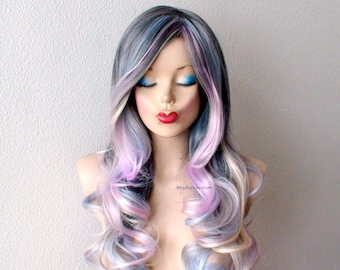 Pastel dark gray / baby blue /lavender /cream blonde Ombre wig.  Long curly hair long side bangs one of kind hand craft wig.