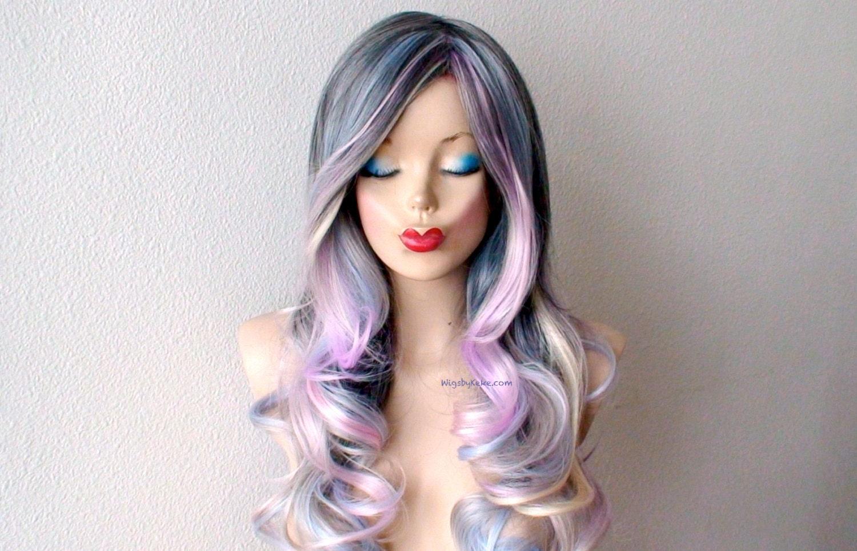 Pastel Dark Gray Baby Blue Lavender Cream Blonde Ombre