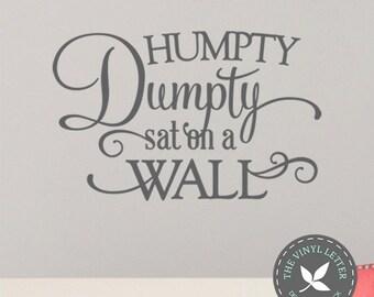 Humpty Dumpty Sat on a Wall Nursery Rhyme Baby | Vinyl Wall Decor Decal Sticker