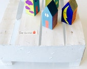 The Village, 4 small wooden houses, handmade ,painted by me!