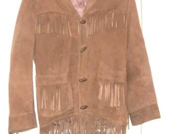 Vintage fringed suede leather coat