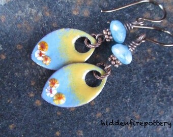 Summertime Torch Fired Blue and Yellow Enameled Copper Earrings with Angelite, Murrine, Artisan Rustic Boho, hiddenfirepottery
