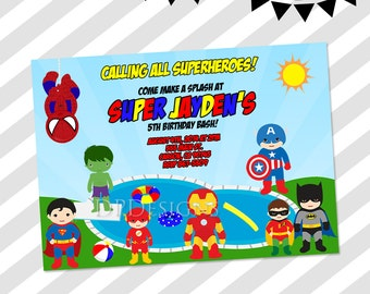 Superhero Pool Party Invitation
