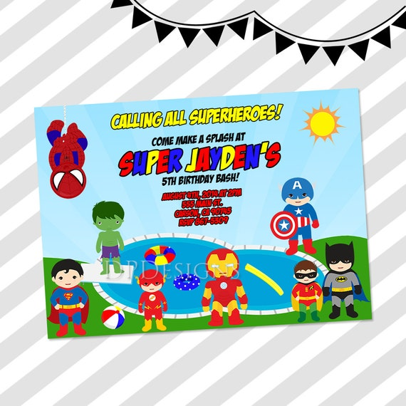 Superhero Pool Party Invitation