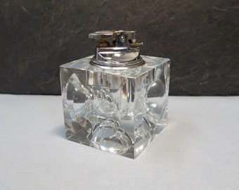 Vintage Table Lighter Glass Cube 1960's