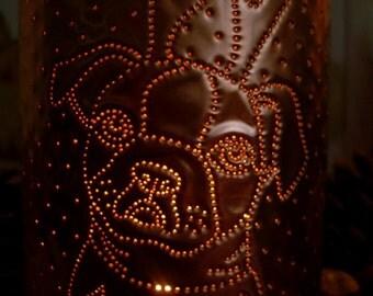 Christmas Decoration, Christmas Light, Copper Lantern, candle, pup, pug, Boston terrier, bugg