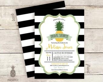 Pineapple Stripe Bridal Shower Invitations