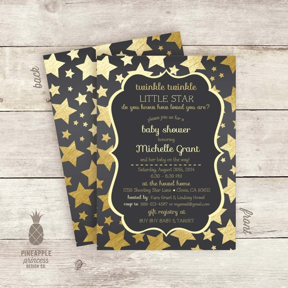 twinkle twinkle little star baby shower invitations color charcoal