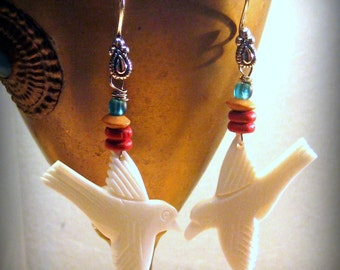 White Bone Bird Beaded Earrings Bohemian Jewelry Tribal Jewelry