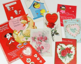 1960s-1970s Valentines Cards - General Valentines - Lot of 11 Signed Cards - Vintage Valentines - 60s 70s Valentines Scrapbooking Supplies