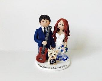 Customized Bride & Groom Guitar Player Groom and  Bride Wedding Cake Topper - Music themed DJ wedding cake topper