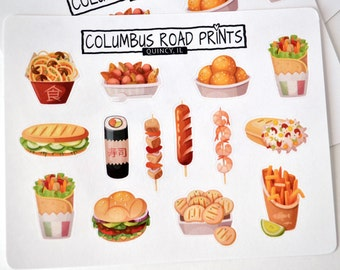 Fair food Vendor food Planner Stickers - Deco sticker sheet Fits all planners - kebobs takeout hotdogs burgers fries