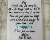Embroidered Wedding Handkerchief For Your Father On Your Very Special Wedding Day - Includes A Beautiful Wedding Hankie Gift Envelope Free