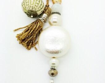 White Gold Pearl Keychain, Purse Zipper Pull Charm