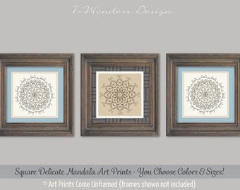 Mandala Art, Flower Medallion Art Print Set of 3, 8x8, 10x10 or 12x12 // Neutral Colors, Modern Home Boho Decor - Unframed