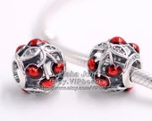 2016 Summer Collection 925 Sterling Silver Sweet Cherries With Glossy Red Enamel & Clear CZ Charm Fit European Bracelets DIY BE362