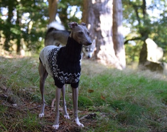 Luxury Nordic Italian Greyhound Sweater Medium Traditional Fair Isle Handwork Superwash Wool