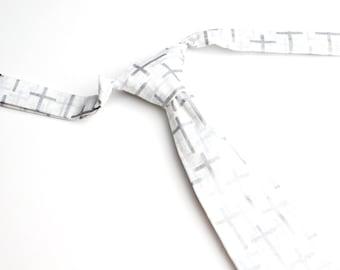 Silver Cross Neck Tie With Adjustable Strap
