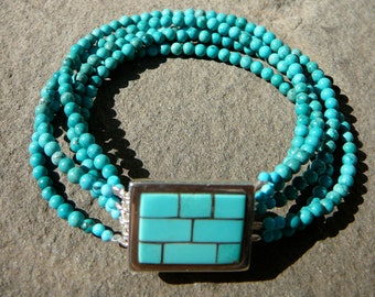 Multi Strand Turquoise Jewelry • Bracelet with Sterling and Sleeping Beauty Turquoise Artisan Clasp