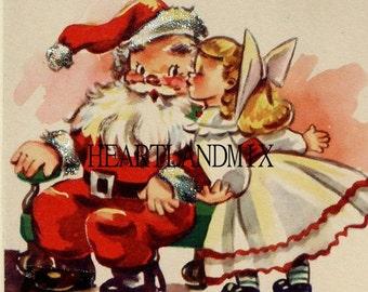 Girl Kissing Santa Claus Digital Image Graphic Art Download