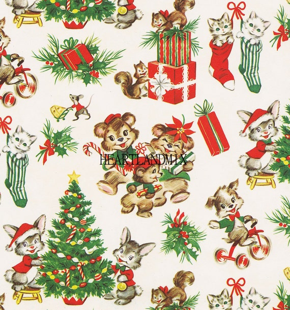 Vintage Holiday Merry Christmas Wrapping Wallpaper Paper