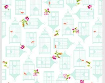 Garden Gate by P&B Textiles Smaller print birdcage in White 438W