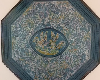 """Mexican Tray Vintage Olinala Lacquer Carved Wall Hanging Folk Art Plaque Bird and Animal Motif Turquoise Blue Octagonal 26"""" Diameter"""