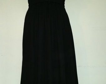 70's Jodie T Dress Boho Black Poly Jersey Knit Boho Party Frock Mid Calf Length Full Skirt Tie Sash Size M