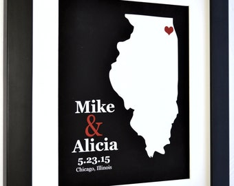 Custom art any state, personalized wedding anniversary gifts for couple, city location art, wall art decor, chicago illinois map print