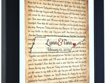 Tennessee rustic state map song lyric art, personalized tennessee map, engagement gift, wedding song gift, wedding map art print, wall art