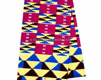 Best Quality Magenta Wholesale Kente cloth print/ Kente fabric/ Kente skirt / African Print/ 6 yards  KF221