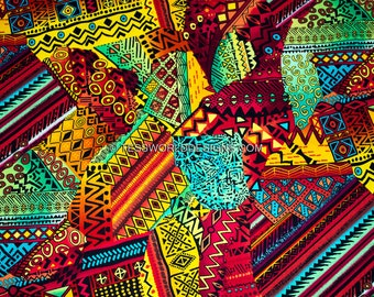 African inspired machine Patchwork fabric sold per yard/ Patchwork Quilt/ Timeless Treasures/African Supplies/ Accessories/ TP39